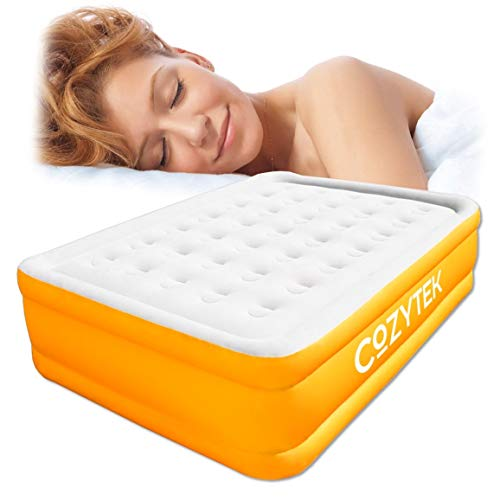 Cozytek Deluxe Inflatable Mattress Double Blow up Air Bed with Built in Pump 191 x 137 x 46 cm, Storage Bag Included