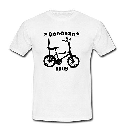 T-Shirt Bonanza Biker Fahrrad BMX Cruiser Lowrider Beachcruiser weiß/schwarz Gr. L