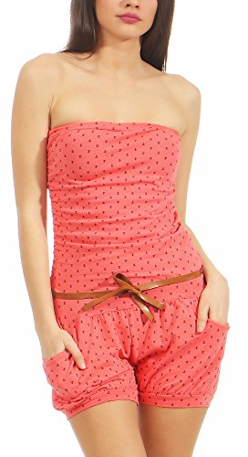 Malito Damen Einteiler mit Anker Print | kurzer Overall schulterfrei | Jumpsuit mit Gürtel - Romper 8963 (Coral)