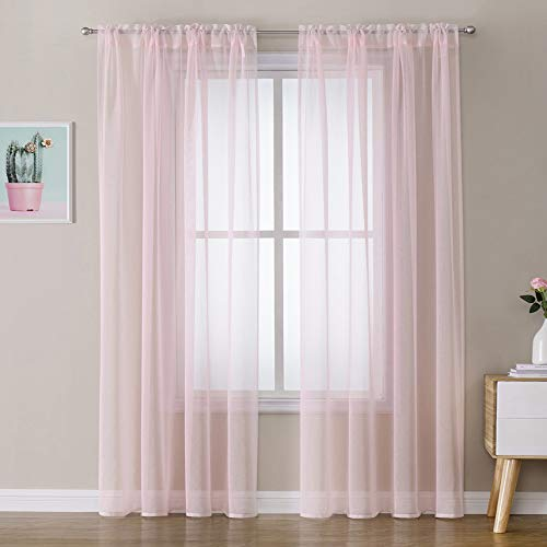 MIULEE Baby Pink Semi Sheer Curtains 84 Inches for Bedroom Window - Lightweight Linen Textured Voile Drapes with Rod Pocket (54 W x 84 L,2 Panels)