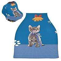 かわいい猫キティ子猫ベビーカーシートカバーキャノピー伸縮性看護カバー幼児用母乳の男の子の女の子のための通気性防風冬のスカーフ