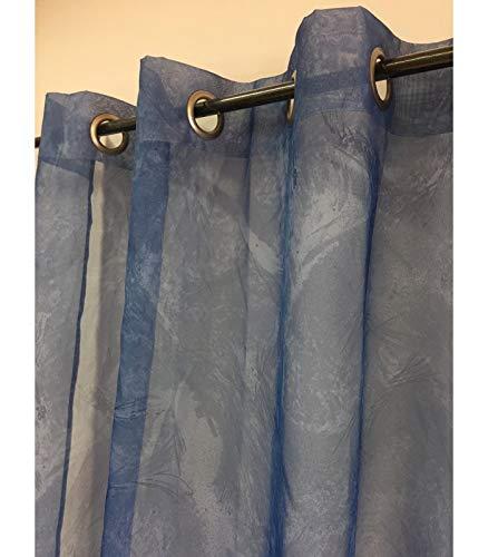 ATELIERDELADECO Voilage Bleu foncé imprimé Faux uni