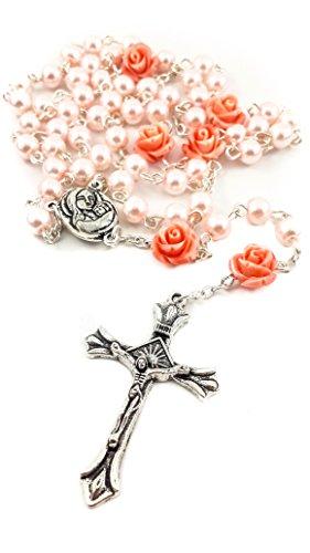 Nazareth Store Collar de Rosario con Cuentas de Perlas Rosadas Católicas Nuestra Rosa, Medalla de Tierra Santa y Cruz