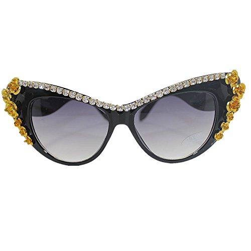 Gespiegelde platte lenzen handgemaakte gouden bloem Crystal Lady zonnebril Cat Eyes strand zonnebril voor de zomervakantie UV-bescherming rijden zonnebrillen geschikt voor vrijetijds- en outdoor-actie