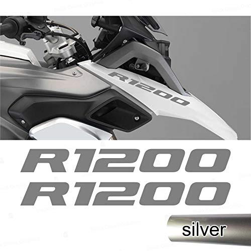 2pcs Adesivi R1200 compatibile con R1200GS R 1200 GS Motorrad Adventure Moto (Argento)