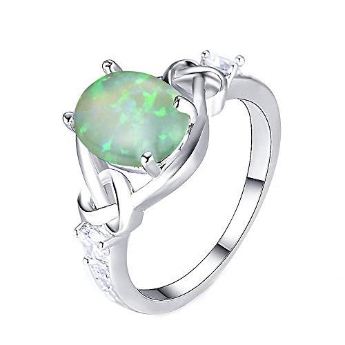 Purmy Keltisch Knoten Ring Opal Damen,Weißgold Ringe Irland Hochzeit Verlobung Grün Größe 54 (17.2)