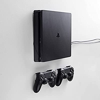 FLOATING GRIP® mounts for PS4 Slim, bundle package for PlayStation 4 Slim and controllers, vertical rope wall mounts (black), Patent pending and proprietary design, Made in Denmark by FLOATING GRIP Trading ApS