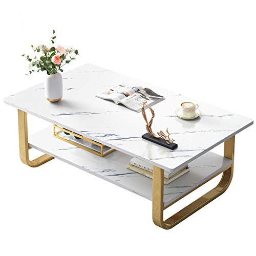 EVFIT Mesa de café rectangular moderna con tablero de mármol sintético y marco de metal dorado, ideal para sala de estar, oficina en casa (color: blanco, tamaño: 120 x 60 x 42 cm)