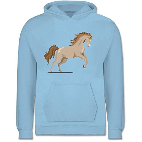 Preisvergleich Produktbild Shirtracer Tiermotive Kind - steigendes Pferd - 140 (9 / 11 Jahre) - Hellblau - JH001K - Kinder Hoodie