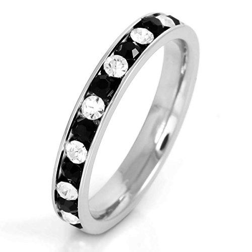 MunkiMix Edelstahl Ewigkeit Ewig Ring Band CZ Zirkon Zirkonia Schwarz Weiß Hochzeit Größe 62 (19.7) Damen