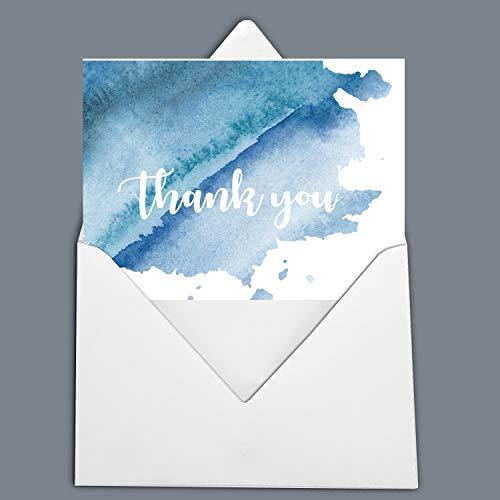 Darling Souvenir White Blue Watercolor Thank You Card Wedding Thank You Card Greeting Cards with White Envelopes - 36 Pcs