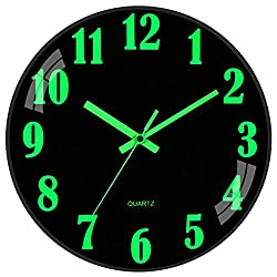 JoFomp Night Light Wall Clock, 12 Inch Silent Non-Ticking Wall Clocks, Large Luminous Function Numbers and Hands, Battery Operated Decorative Wall Clock for Office, Kitchen, Living Room (Black)