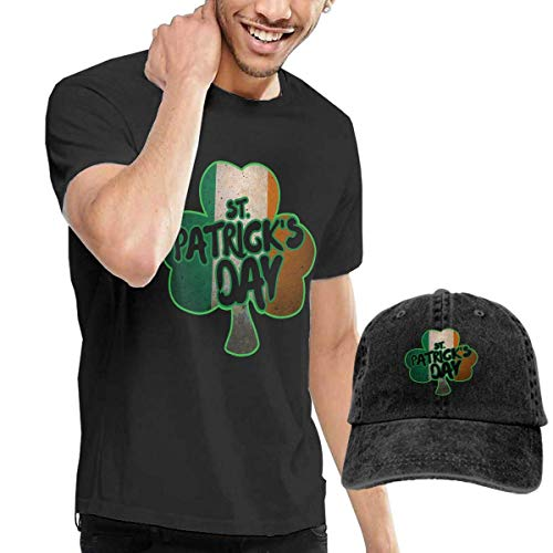 HQSL Conjunto de Disfraz de Camiseta y Sombrero de Manga Corta con Estampado de trébol irlandés para Adultos de San Patricio