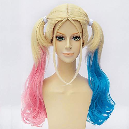 Peluca para cosplay de Batman Suicide Squad Harley Quinn, color rosa y azul