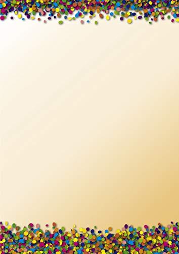 Briefpapier Konfetti, DP897, 50 Blatt DIN A4, 90 g/m², Motivpapier, Schreibpapier, Designpapier, Geburtstag, Einladung, Brief, Jubiläum, Party, Kindergeburtstag, Kinder