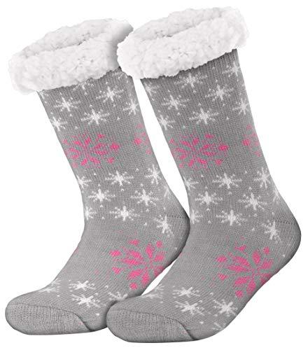 style3 Compagno warme Kuschelsocken mit ABS Anti Rutsch Sohle Wintersocken Herren Damen Socken 1 Paar Einheitsgröße, Farbe:Schneeflocke Grau
