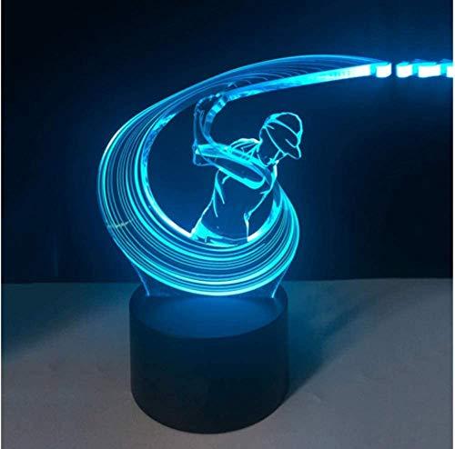 3D-verlichting, led, spelen met golf, swing action boy, modelleer, tafellamp, slaapkamer, touch schakelaar, nachtlampje, USB Home Decor geschenken