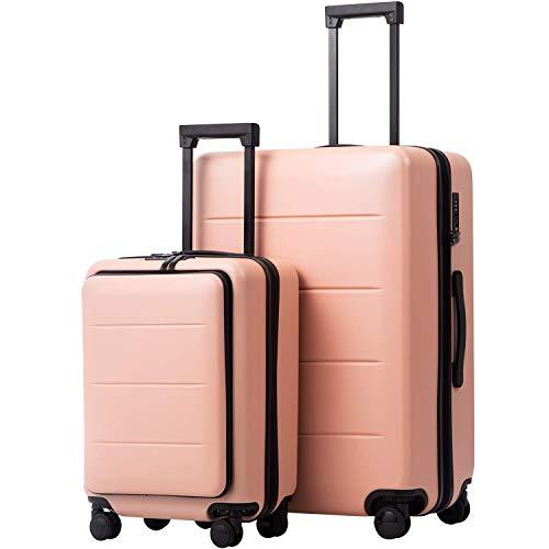 COOLIFE Business-Trolley Reisekoffer Vergrößerbares Gepäck (Nur Großer Koffer Erweiterbar) ABS+PC Material mit TSA-Schloss und 4 Stumm schalten Rollen (Kirschblüte Pulver, 2-teiliges Set(S/L))