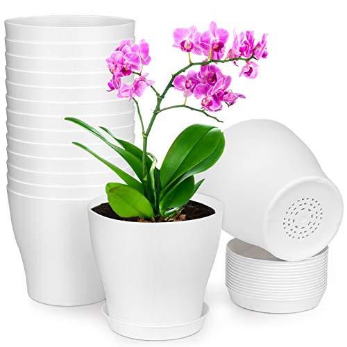HOMENOTE Plant Pots, Set of 15 Plastic Planters with Multiple...