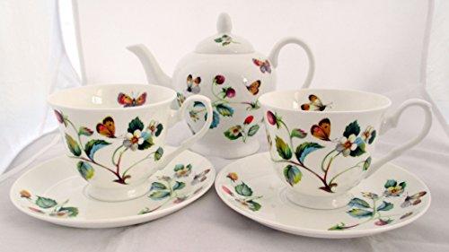 Aardbeien en Vlinders Theeset voor twee fijne botten China Hand Versierd in het Verenigd Koninkrijk Theeset 1 theepot 2 kopjes & 2 schotel