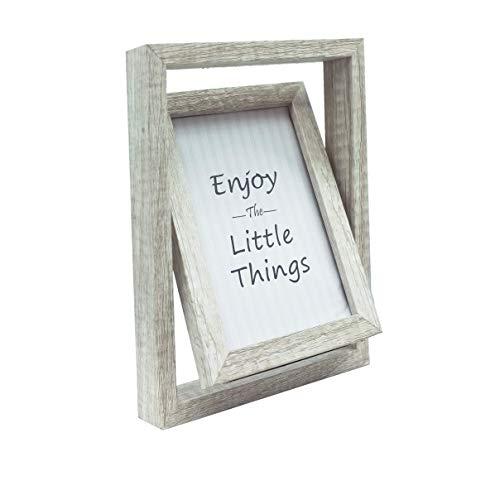 Marco de fotos de madera de 15 x 10 cm, marco de fotos giratorio de doble cara con ventana de cristal, soporte de grosor sobre escritorio o mesa, 15,8 x 20,8 x 3 cm, color gris