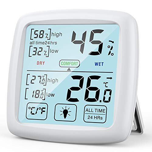 NIXIUKOL Hygrometer Innen Thermometer Digital Raumthermometer mit hohen Genauigkeit, Komfortanzeige, Luftfeuchtigkeitsmessgerät, Thermo-Hygrometer für Zuhause, Babyraum, Wohnzimmer, Büro, Weiß
