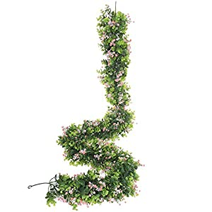 Kimura's Cabin 70 inches Fake Boxwood Baby's Breath Gypsophila Vine Flowers Garland Plants Artificial Flower Hanging Eucalyptus Ivy Home Hotel Office Wedding Party Garden Craft Art Décor Decoration