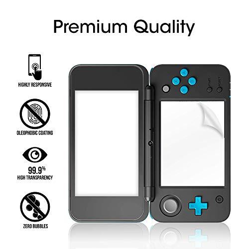 Nintendo 2DS XL Screen Protector Pack, amFilm [2 GLASS Top, 4 PET Bottom] High Quality Screen Protectors for New Nintendo 2DS XL 2017 (6 Protectors in Package)