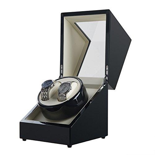 Sfeomi Caja Giratoria para Relojes con Doble Epítopo Estuche para Relojes Automaticos sin Ruido Caja de Relojes Automaticos para Mantener Buen Rendimiento de Reloj Mecánico (Negro)
