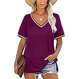 Camiseta Mujer Elegante Y Cómoda Cuello En V Suelta Fibra Elástica Transpirable Camiseta para Mujer Verano Sexy De Manga Corta Simple Blusa Casual para Mujer D-Purple L