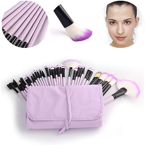 Make Up Brush Set Professional 32 pcs, pinceaux de maquillage Fondation lèvres brosse oeil brosse visage brosse Pinceau fard à paupières avec un sac en nylon noir,Violet