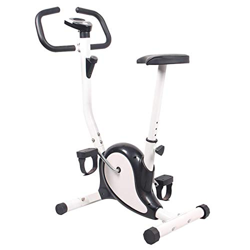 Exercise Bike Gym Trainer Workout Fitness Indoor Cycling Machine Cardio Adjustable Saddle Tension Control Monitor Time Speed and Calories Black