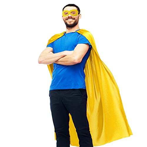 D.Q.Z Adults Superhero-Cape and Mask for Men Women – Masquerade Halloween Vampire Super Hero Dress-Up Costume Party Favors (Gold)