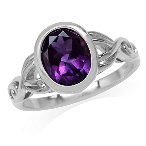 Silvershake 2.41ct. 10X8mm Oval Shape Natural African Amethyst White Gold Plated 925 Sterling Silver Celtic Knot Ring Size 7