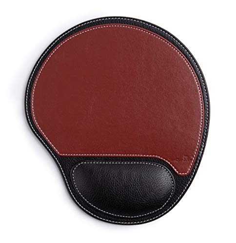 Office Leather Gaming Mouse Pad Wrist Support and Non-Slip Design, Business Style PU High Grade Gaming Mouse Mat for Students, Workers, Computer, Laptop, Home, Office & Travel- Palm Shape Gaming Pad
