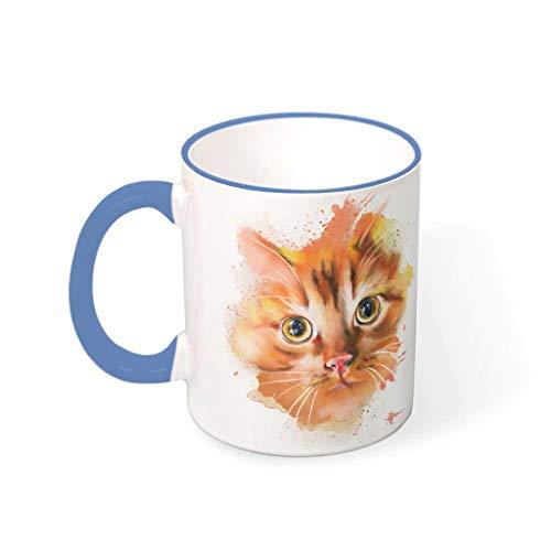 COMBON Shop Taza de café de tinta de cara de gato taza con mango de porcelana estilo retro taza acero azul 330ml