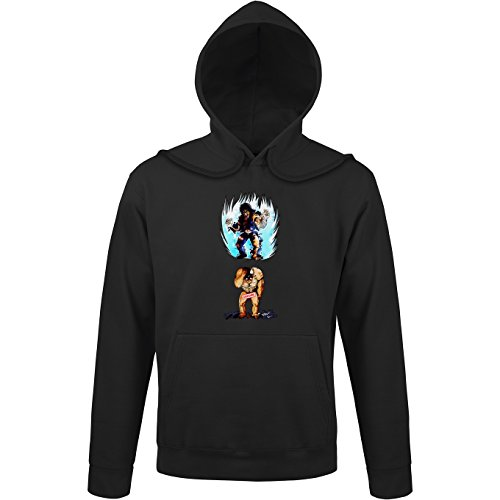 Okiwoki Sweat-Shirt à Capuche Noir Parodie Ken Le Survivant - Kenshiro - Trop de Puissance. !!! : (Sweatshirt de qualité Premium de Taille S - imprimé en France)