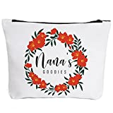 Funny Nana Makeup Zipper Pouch Bag   Floral Nana's Goodies Cosmetic Travel Accessories Bag Make-Up Toiletry Case Pouch Gifts for Mother's Day Christmas Baby Shower