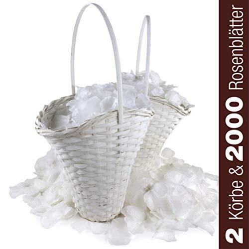 WeedingTree 2 cestas de Flores para bodacon petalos de Rosa en Color Blanco - 2000 pétalos de Rosa para Bodas, día de San Valentín, cumpleaños, y decoración de Fiestas