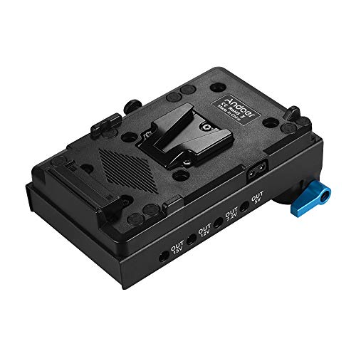 Andoer V Mount Battery Plate Adapter NP-FW50 Dummy Battery compatible with BMCC BMPCC Sony A7 A7S A7R A7II A7SII A7RII A6300 A6400 A6500 for Monitor Audio Recorder Microphone