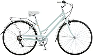 Schwinn Wayfarer Hybrid Bicycle, Retro-Styled 16-Inch/Small Steel Step-Through Frame and 7-Speed Drivetrain with Front and Rear Fenders, Rear Rack, and 700C Wheels, Light Mint
