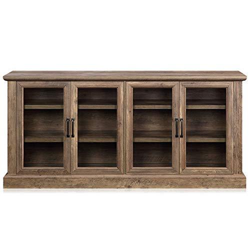 "BELLEZE Liam 70"" Rustic Farmhouse Wood Sideboard Universal Stand 4 Doors Buffet Cabinet Living Room Glass Storage, Rustic Oak"