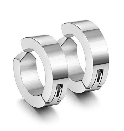 Jstyle Stainless Steel Mens Womens Clip On Earrings Hoop Huggie Non-Piercing Hypoallergenic White