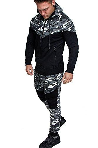 Amaci&Sons Herren Biker Camouflage Sportanzug Jogginganzug Trainingsanzug 2Teiler K1 Camouflage Weiß M