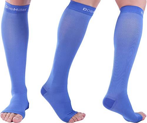 Doc Miller Open Toe Compression Socks 1 Pair 30-40mmHg Edema (Blue, L)