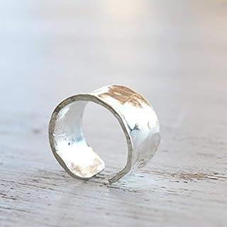 Orecchino in argento sterling per orecchie non perforate Orecchino martellato regolabile per gioielli donna