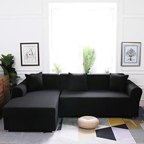 Grea Grey Elastic Couch Sofa Cover für Wohnzimmer Sofagarnitur Sessel Sofabezug-Schwarz, 2-Sitzer 145-185 cm