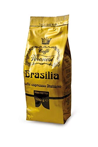 Caffè Veronesi - Brasilia 1000g || Caffé Espresso Italiano || original italienischer Caffé || ganze Bohnen für Espresso & Kaffee || 100% brasilianische Bohnen geröstet in Italien