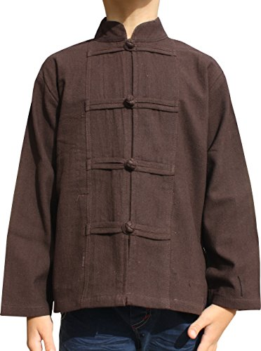 RaanPahMuang Childrens Formal Chinese Collar Long Sleeve Shirt Mixed Soft Cottons, 10-12 Years, Muang Cotton - Dark Liver Brown