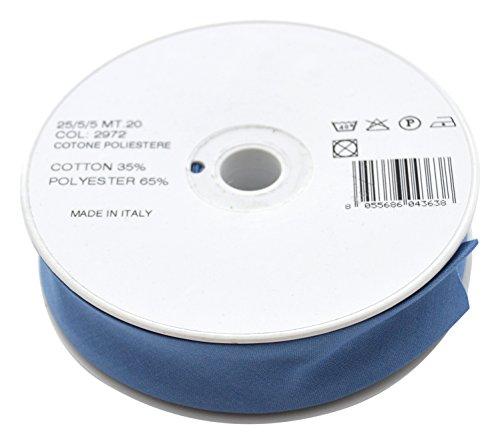 Inastri, COL2972, Rotolo di fettuccia in sbieco, Policotone, Blu, Lunghezza: 20m, 25/5/5mm